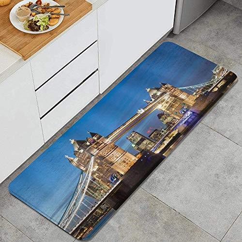 ALLMILL Alfombra de Cocina, Paisaje londinense de Shining Landmark Tower Bridge en el crepúsculo con Rascacielos detrás de la fotografía de Inglaterra,tapete Decorativo para Piso de Cocina con