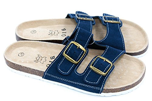 TexBase Herren Pantoletten Bio Leder Kork Pantoffeln Perfekte Hausschuh (46 Blau)