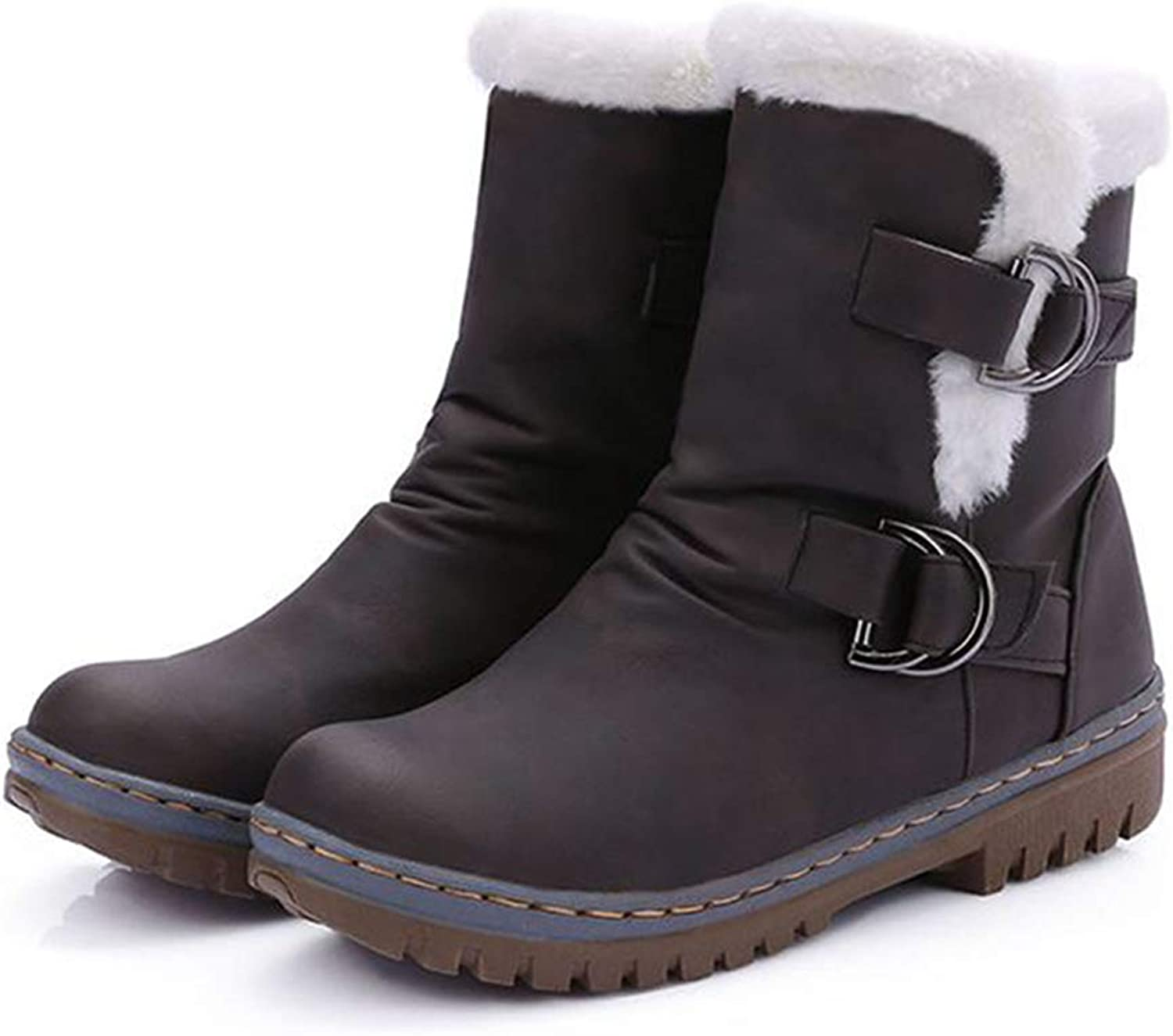 Women's Winter Snow Boots Suede Low Heel Warm shoes Buckle Strap Plush Lining Booties