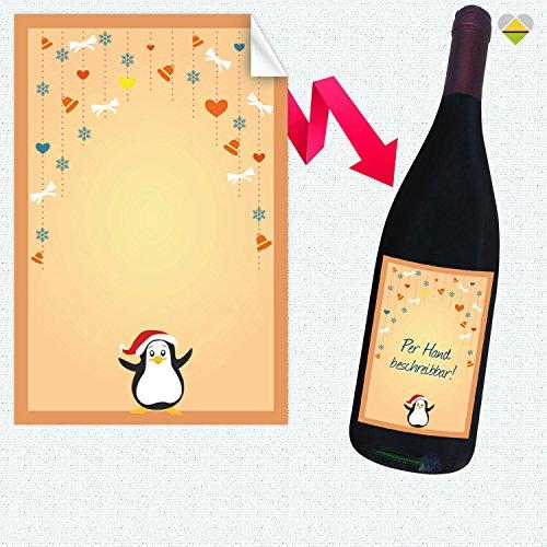 1 Flaschen-Etikett | Winter Illustration Frame – Motiv: Pinguin Weihnachts Girlande | Rechteckig | 8 x 12 cm | FE0202-23A | Blanko zum Selbstbeschriften | inkl. Verklebe-Anleitung | CuteLove & Head-Beat