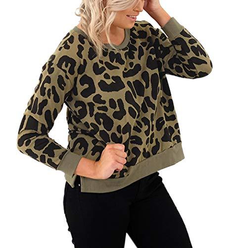 Primavera y Otoño Mujeres Cuello Redondo Manga Larga Sudaderas Jerséis Pulóver Moda Estampado de Leopardo Tops Jumpers Suéter Remata Blusa