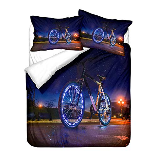 HNHDDZ Autumn Urban Starry Sky Bedding set 3D Bike Blue Green Purple Gray Orange Print Duvet Cover and Pillowcase Microfiber (Style 3, Single 135x200 cm)