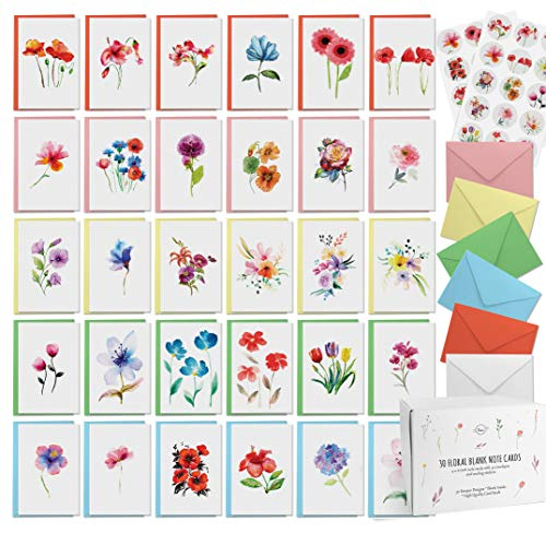 Dessie 30 Floral Watercolor Blank Cards With Envelopes - 30 Different 4x6 Inch Blank Greeting Cards w/ Assorted Color Envelopes & Matching Seals. Note Cards with Envelopes Set For All Occasions.