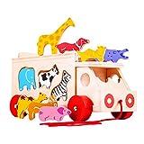 11 parte giochi per bambini in legno tra cui un elefante, Vacca, giraffe, ippopotami e altro!