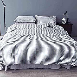 NANKO Striped Queen Duvet Cover Set, 3 Piece - 1200TC Microfiber Bedding Comforter Quilt Cover Zip Closure, Tie - Best Modern Style for Men and Women, Navy Blue and White (Queen, Striped)