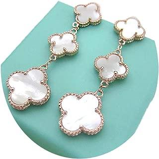 Women Black Onyx 18K Gold Plated 3-flowered Four-leaf Clover Earrings/Classic Fashion Leaf Clover Earrings,925 Sterling Silver 3 Color Flower Shape Earrings (White-rose gold)