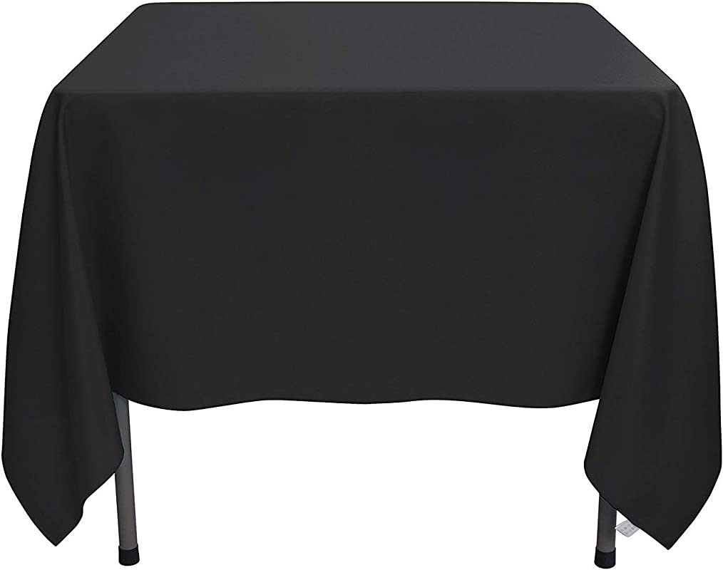 YRYIE 70 X 70 Inch Kitchen Tablecloth Square Black Solid Polyester Washable For Table Cloth Great For Wedding Buffet Party Baby Shower Holiday Dinner