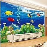 Papel Tapiz de Fotos Personalizado 3D Esteroscópico Océano Acuario Sofá TV Fondo Decoraciones de Pared Sala de Estar Mural Papel de pared-350cmx256cm