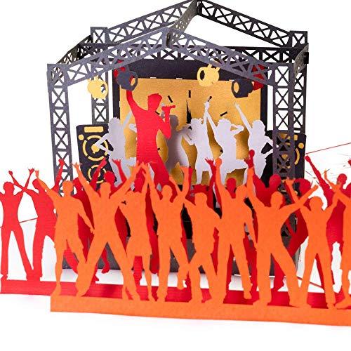 3D Karte Rock Pop Konzertgutschein mit Sänger, Grußkarte Musik, Geburtstagskarte z.B. als Gutschein für Konzert oder Festival