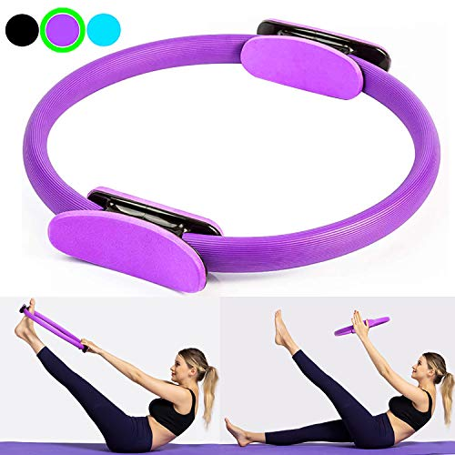 Sunrich Pilates Ring Fitness Magic Circle 15 Inch Pilates Exercise Resistance Full Body Toning Thighs Rings for Strengthening Thighs, Abs, Legs, Body Sculpting, Yoya