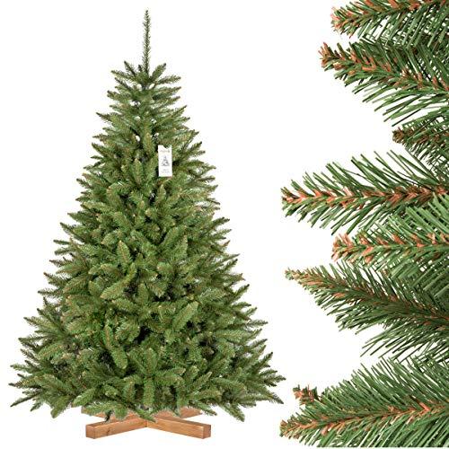 FairyTrees künstlicher Weihnachtsbaum FICHTE Natur, Baumstamm grün, Material PVC, inkl. Holzständer, 180cm
