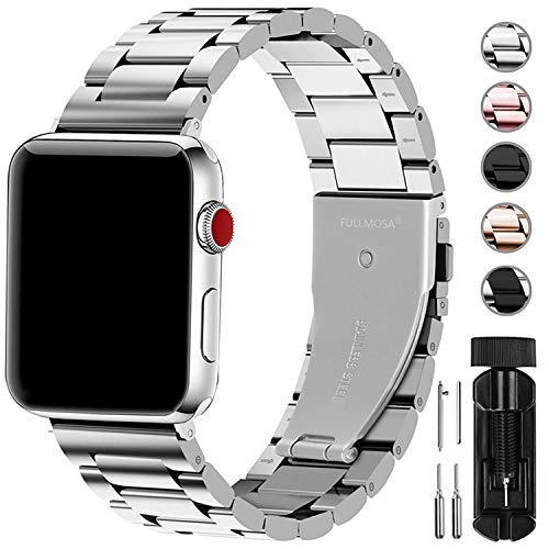 Fullmosa Cinturino per Apple Watch 42mm/44mm, Cinturino in Acciaio Inossidabile Compatibile con iWatch, Cinturini per Apple Watch Serie 5 4 3 2 1, Argento