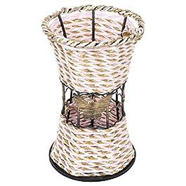 DOITOOL Vase en Osier Tissé Fleur Vase Panier Pot Peut Haute Lampadaire En Rotin Fleur De Vase Panier Pays Rustique…