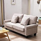 2 Two Seat Sofa Linen Fabric Settee Couch Living Room Furniture Include Cushions (Light Brown)