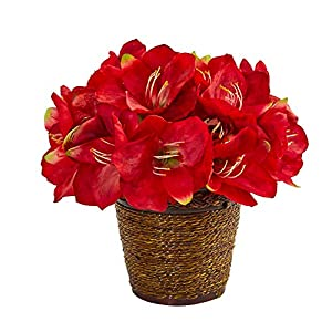 Nearly Natural A1096-RD Mini 12in. Amaryllis Artificial Basket Silk Arrangements, Red
