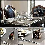 Tischset, Platzset 6er set Rutschfest Abwaschbar PVC Abgrifffeste Hitzebeständig Platzdeckchen für Zuhause Restaurant Speisetisch(Braun / Silber) - 3