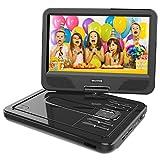 """WONNIE 2020 Upgrade 12.5"""" Lecteur DVD Portable avec écran Rotatif à 270°, Carte SD et Prise USB avec Charge directe Formats/RMVB/AVI / MP3 / JPEG, Parfait pour Enfants (Noir)"""