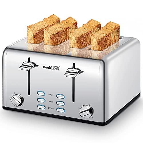 Toaster 4 Slice, Geek Chef Stainless Steel...