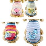 Guizen 4 PCS Flanella Vestiti per Cane Gatto Caldo Abbigliamento Maglione per Animali Cappottini Costume per Cani Piccolo Cucciolo