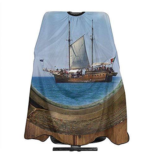 Haarsnit Cape Rustieke Piraat Schip Porthole Zeeman Kapper benodigdheden Tool Salon Doek Kappers Kaap Haarstylist Haar Snijden Schort Kapsel Cape 140X168Cm