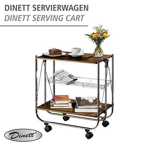 Wenko 713003100 Servierwagen Dinett Deluxe Walnuss Küchenwagen – Beistellwagen- zusammenklappbar - 5