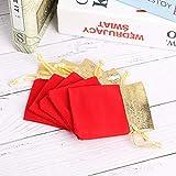 【2021 Promoción de año nuevo】Bolsa de almacenamiento de regalo de boda para joyería, bolsa con cordón, bolsa de terciopelo para joyería, 50 piezas para oficina para el hogar(Red 7 * 9cm)