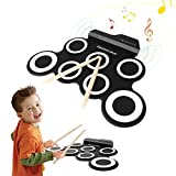 Tambour Electronique, Hizek Batterie Electronique 7 Pads Portable Drum Pad Kits Pliable Musical Entertainment Instrument de Pratique