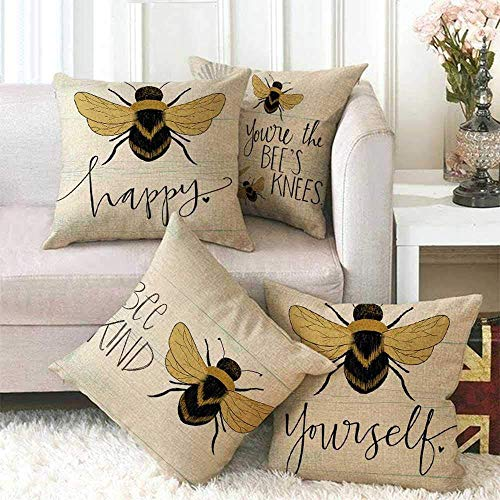 Geggur 4 pieces of cushion cover cartoon yellow bee linen square cushion cover, used to decorate sofa back throw pillow cover home office decoration,A