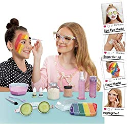 Featuring multiple cosmetic chemistry experiments in one box Customize your own: Sugar Scrub, Rainbow and Mineral Clay Face Masks, Body Shimmer, Highlighter Lotion, Citrus Hairspray, and Cucumber Goggles – so many ways to relax! Combine included comp...