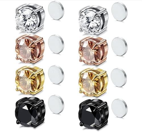 4 Pares De Aretes Magnéticos De Acero Inoxidable Para Mujeres, Hombres, No Perforantes, Magnéticos, No Perforados, Magnéticos, Pendientes De Circonio Cúbico