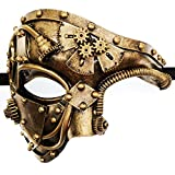 Gold Mechanical Men Venetian Mask for Masquerade Steam Punk Phantom of The Opera Vintage/Mardi Gras/Halloween/Party/Ball Prom
