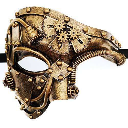 Ubauta Gold mechanische Männer venezianische Maske für Maskerade Steam Punk Phantom der Oper Vintage/Karneval/Halloween/Party/Ball Prom