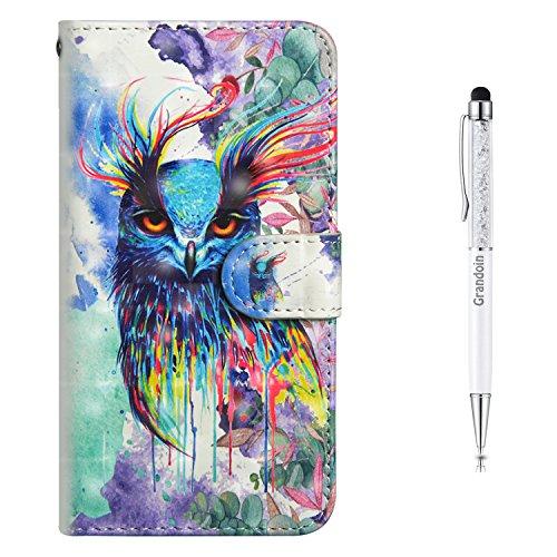 Grandoin iPhone 6S Hülle,iPhone 6 Hülle, Handyhülle im Brieftasche-Stil für Apple iPhone 6S /6 4.7 Zoll Handytasche PU Leder Flip Cover 3D Bunte Muster Book Case (Vogel)