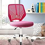 Waleaf Kids Desk Chair for Boys Girls Children, Armless Ergonomic Student Chair, Low Back Computer Swivel Chair with Breathable Mesh Height Adjustable, Home Office Desk Chair for Bedroom(Pink)