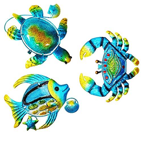 Metal Wall Decor Outdoor Wall Art, Set of 3 Metal Sea Turtle, Fish and Crab Outdoor Wall Decor, Ocean Themed Metal Art Wall Decor for Home, Bathroom, Bedroom, Garden, Pool, Patio, Deck, Balcony.(Blue)