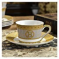 コーヒーカップヨーロッパの骨内中国の家の茶マグとソーサーのセットイギリスの午後の食器の背の高いグレードのギフト (Color : A)