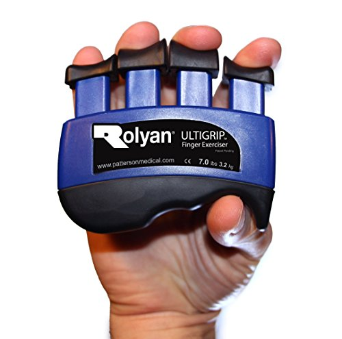 Rolyan 568687 Ultigrip Finger Exercisers, Blue, 7-Pounds, Finger & Grip Strengthener for Physical Therapy, Ergonomic Hand Workout Aid, Portable Hand Exerciser for Home, Clinic, & Rehabilitation