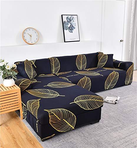 Fundas de sofá elásticas Impresas para Sala de Estar Funda de sofá Esquina en Forma de L Chaise Longue Sillón Sofá Funda A18 3 plazas