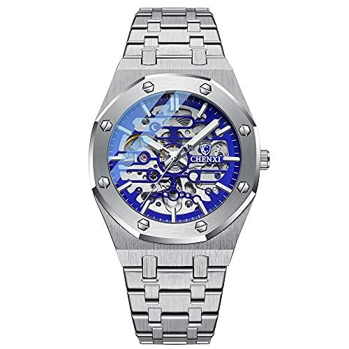 Reloj automático para hombre de esqueleto relojes para hombres correa de acero inoxidable auto devanadera relojes mecánicos