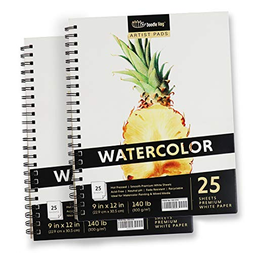 2PK - Thick 9x12 140lb / 300GSM Watercolor Paper Spiral Pad (25 Sheets / 50 Total) Hot Press, Smooth Sketchbook for Water Color Painting for fine Detailed Work and Sketching Paper for Artists & Kids