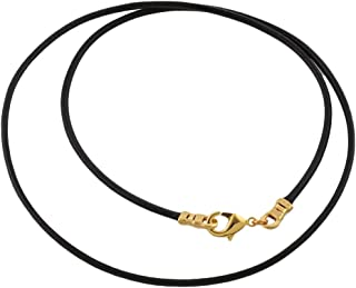 Gold Plated 1.8mm Fine Black Leather Cord Necklace