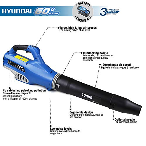 Hyundai Cordless Battery Powered Leaf Blower with 60v Lithium-ion...