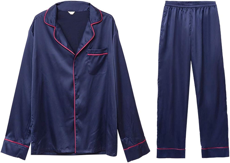 Homewear Simple Modern Style Long Sleeve Pajama Set (color   Navy, Size   L)