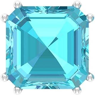 Certified Blue Topaz Swiss Earring, 6 Ct Asscher Cut Gemstone Earring, Solitaire Statement Earring, Bridal Wedding Earring, Gifts for Her, Screw back