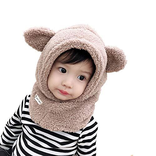 Boomly Boomly Baby Wintermütze Nackenwärmer Ohrenklappen Warm Kapuzen Schal Beanies Hüte Nettes Ohr Plüsch Verdicken Absicherungskappe Anzug für 1-6 Jahre alt (Khaki, 1-3 Jahre altes)