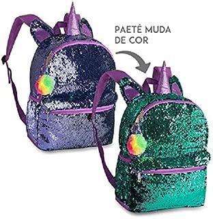 MOCHILA PAETÊ UNICORNIO ROXO/AZUL CLIO GIRLS CG2035