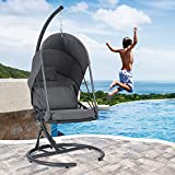 SUNCREAT Hanging Egg Swing Chair with Stand & Canopy, Outdoor Patio Swing Chair with Stand & Cushion, 330 lbs Capacity, Dark Grey