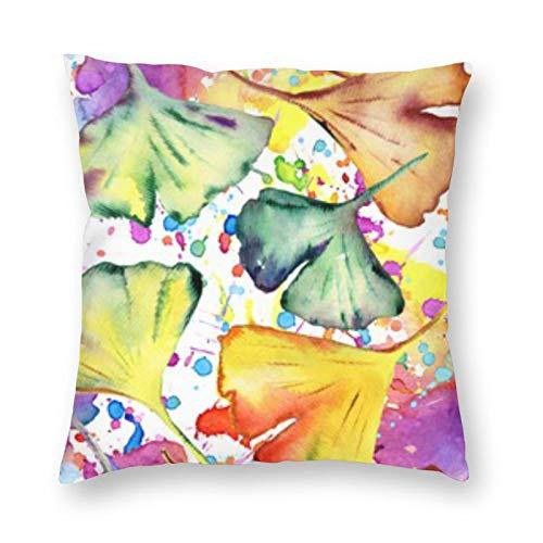 BONRI Watercolor Ginkgo Biloba Leaves Square Pillow de 12 x 12 pulgadas cuadradas para decoración, cómodo y relaxing Rest, Warm Companionship
