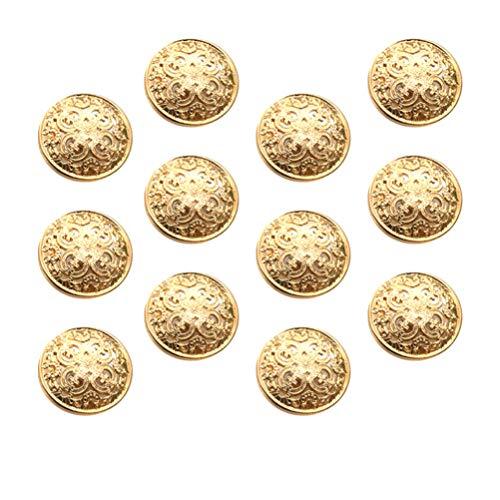 EXCEART 30 Piezas Vintage Botones Metálicos para Abrigo Blazer Flor Botones Decorativos para Coser Ropa Botones para Artesanía DIY Luz Oro 23Mm
