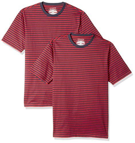 Amazon Essentials, maglietta a maniche corte con scollo a V, da uomo, vestibilità aderente, confezione da 2, Red/Navy, US M (EU M)